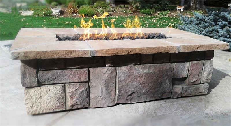 61 X 31 Rectangle Custom Stone Gas Fire Pit