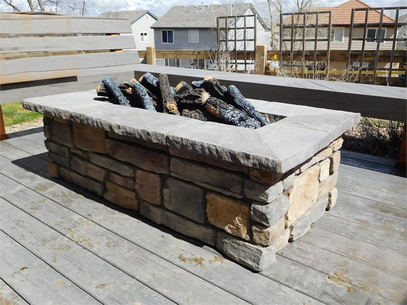 61 X 31 Rectangle Custom Stone Gas Fire Pit Colorado Hearth