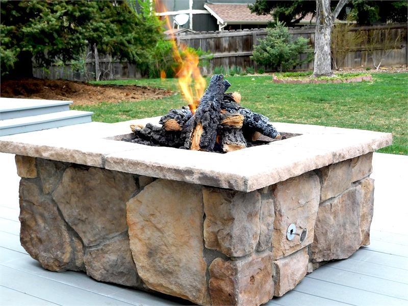 42 Square Custom Stone Gas Fire Pit
