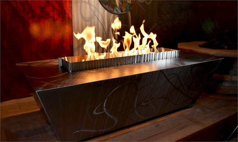 Parallax Stainless Steel Rectangle Gas Fire Pit