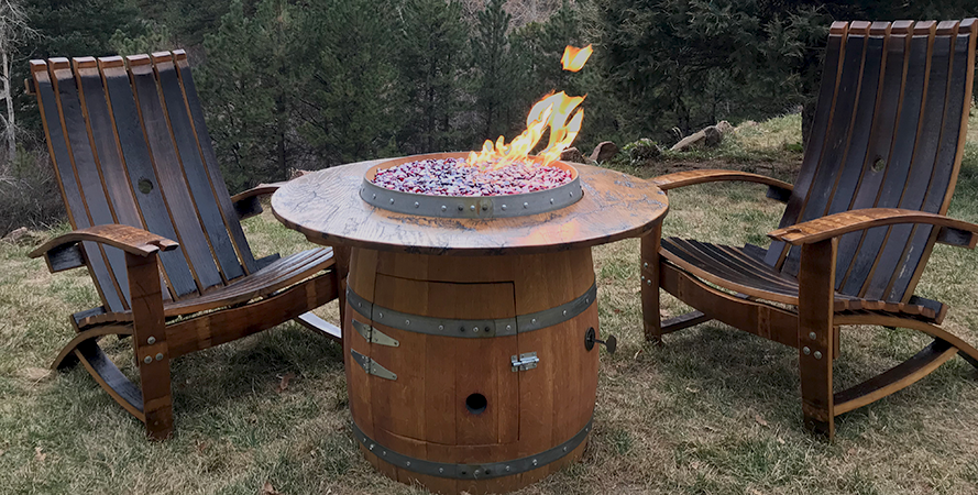 Busted Barrel Brand Wine Barrel Fire Pit Colorado Hearth