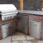 bbq island with thin brick and delta heat grill