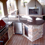 island & fireplace